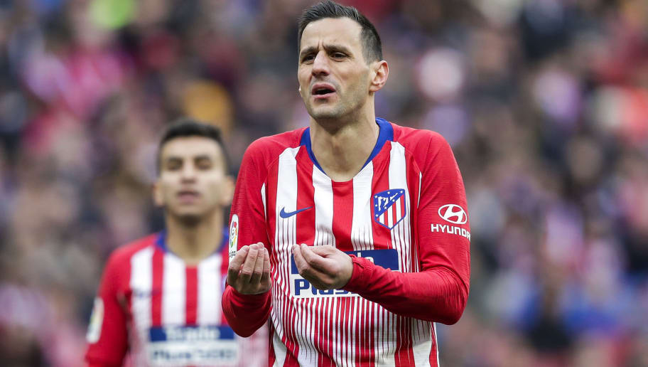 MADRID, SPAIN - DECEMBER 8: Angel Correa of Atletico Madrid, Nikola Kalinic of Atletico Madrid during the La Liga Santander  match between Atletico Madrid v Deportivo Alaves at the Estadio Wanda Metropolitano on December 8, 2018 in Madrid Spain (Photo by David S. Bustamante/Soccrates/Getty Images)