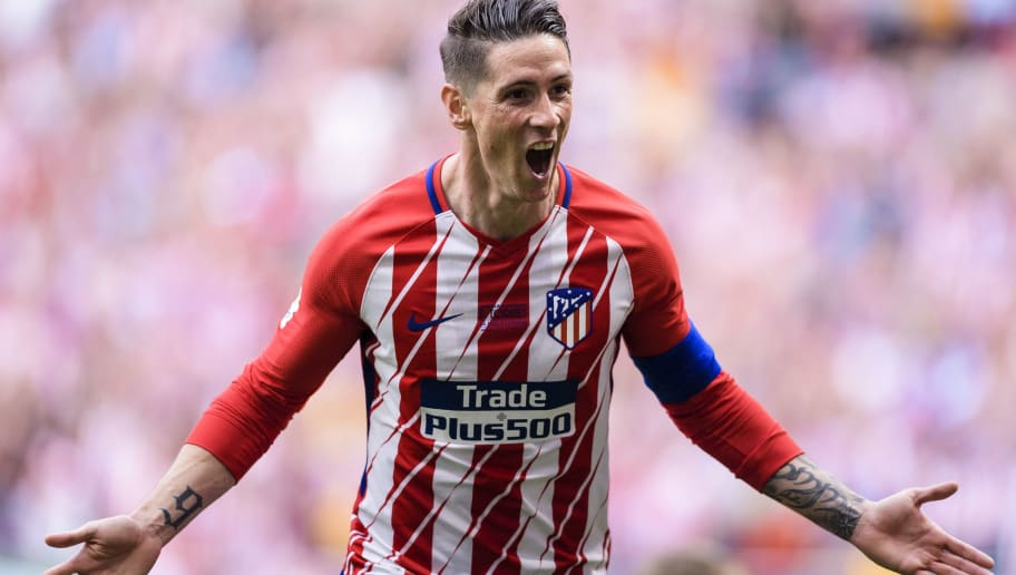 MADRID, SPAIN - MAY 20: Fernando Torres of Atletico de Madrid celebrating his score during the La Liga match between Atletico Madrid and Eibar at Wanda Metropolitano Stadium on May 20, 2018 in Madrid. (Photo by Power Sport Images/Getty Images)