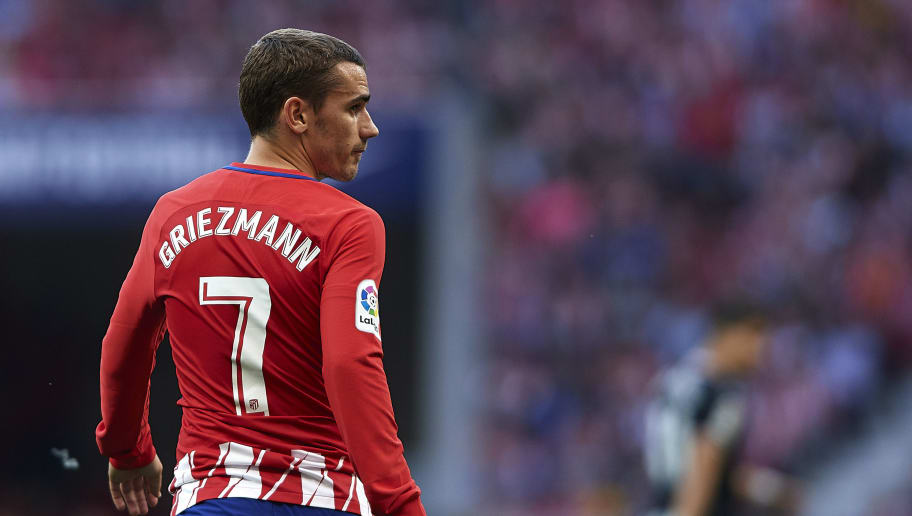 MADRID, SPAIN - MAY 20:  Antoine Griezmann of Atletico de Madrid looks on during the La Liga match between Atletico Madrid and Eibar at Wanda Metropolitano on May 20, 2018 in Madrid, Spain. (Photo by Quality Sport Images/Getty Images)