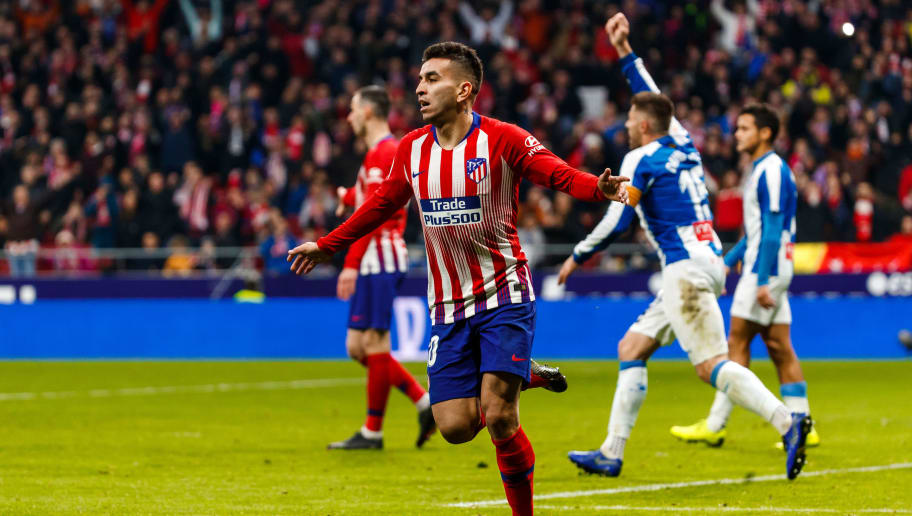 MADRID, SPAIN - DECEMBER 22: Ángel Correa of Atletico de Madrid gestures during the La Liga Santander match between Atletico Madrid v Espanyol at the Estadio Wanda Metropolitano on December 22, 2018 in Madrid Spain. (Photo by TF-Images/TF-Images via Getty Images)