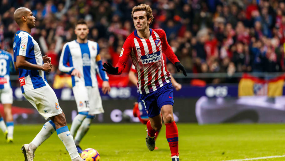MADRID, SPAIN - DECEMBER 22: Antoine Griezmann of Atletico de Madrid celebrates after scoring his team`s first goal 1-0 during the La Liga Santander match between Atletico Madrid v Espanyol at the Estadio Wanda Metropolitano on December 22, 2018 in Madrid Spain. (Photo by TF-Images/TF-Images via Getty Images)