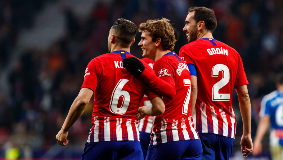 MADRID, SPAIN - DECEMBER 22: Antoine Griezmann of Atletico de Madrid celebrates his goal with team mates during the La Liga Santander match between Atletico Madrid v Espanyol at the Estadio Wanda Metropolitano on December 22, 2018 in Madrid Spain. (Photo by TF-Images/TF-Images via Getty Images)
