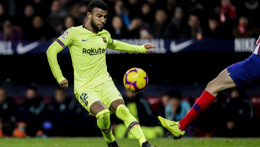 MADRID, SPAIN - NOVEMBER 24: Rafinha of FC Barcelona during the La Liga Santander  match between Atletico Madrid v FC Barcelona at the Estadio Wanda Metropolitano on November 24, 2018 in Madrid Spain (Photo by David S. Bustamante/Soccrates/Getty Images)