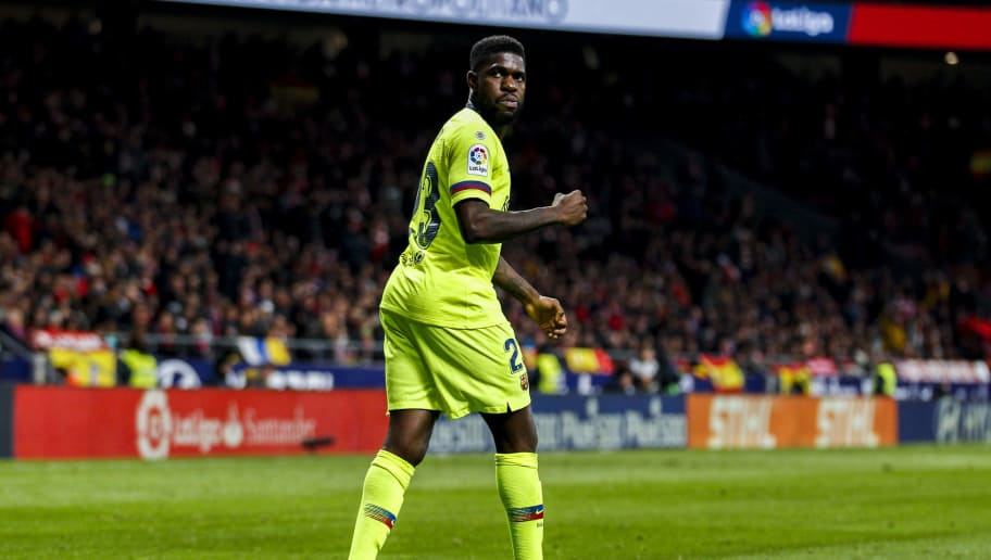 MADRID, SPAIN - NOVEMBER 24: Samuel Umtiti of FC Barcelona during the La Liga Santander  match between Atletico Madrid v FC Barcelona at the Estadio Wanda Metropolitano on November 24, 2018 in Madrid Spain (Photo by David S. Bustamante/Soccrates/Getty Images)