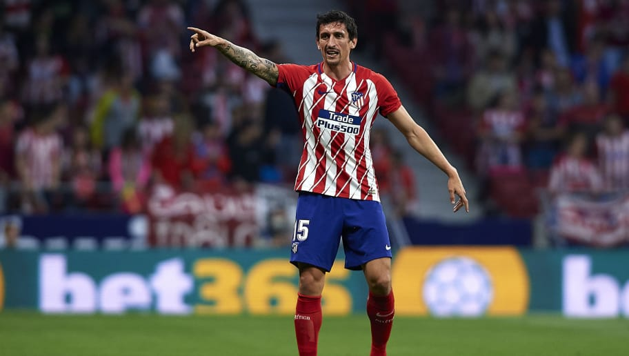 MADRID, SPAIN - APRIL 22:  Stefan Savic of Atletico Madrid reacts during the La Liga match between Atletico Madrid and Real Betis at Wanda Metropolitano Stadium on April 22, 2018 in Madrid, Spain.  (Photo by Quality Sport Images/Getty Images)