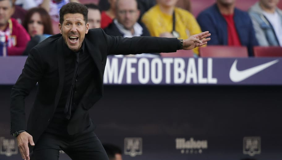 MADRID, SPAIN - OCTOBER 7: coach Diego Simeone of Atletico Madrid during the La Liga Santander  match between Atletico Madrid v Real Betis Sevilla at the Estadio Wanda Metropolitano on October 7, 2018 in Madrid Spain (Photo by David S. Bustamante/Soccrates/Getty Images)