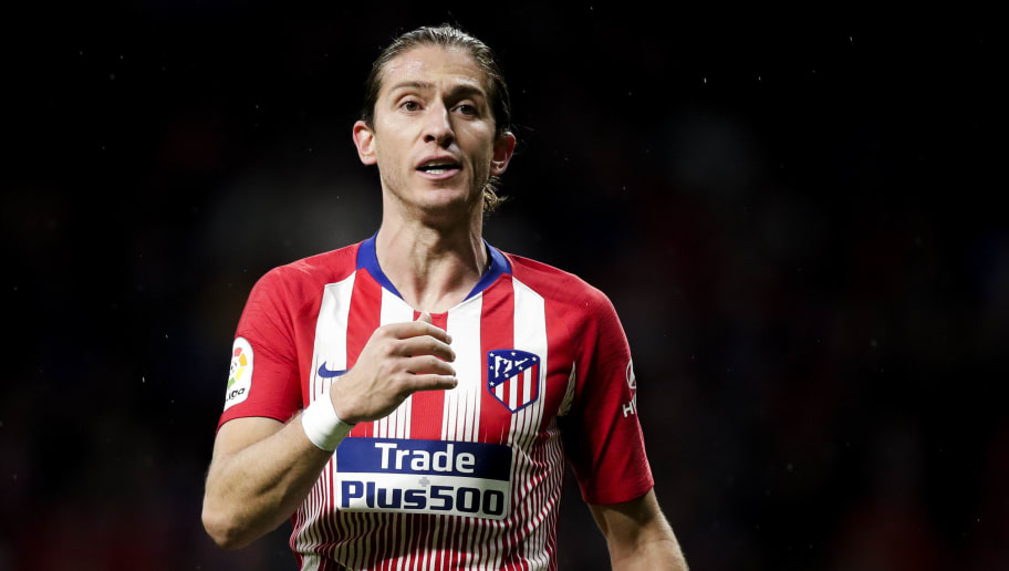 MADRID, SPAIN - OCTOBER 27: Filipe Luis of Atletico Madrid during the La Liga Santander  match between Atletico Madrid v Real Sociedad at the Estadio Wanda Metropolitano on October 27, 2018 in Madrid Spain (Photo by David S. Bustamante/Soccrates/Getty Images)