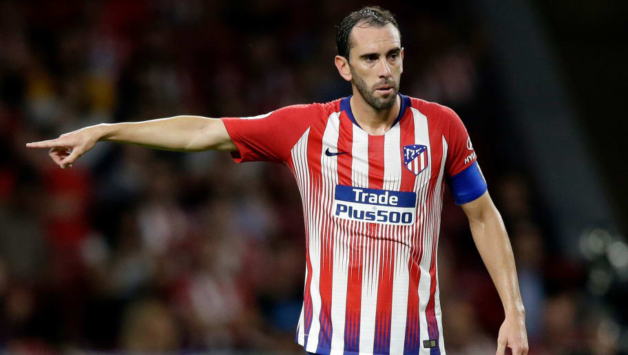 MADRID, SPAIN - SEPTEMBER 25: Diego Godin of Atletico Madrid during the La Liga Santander  match between Atletico Madrid v SD Huesca at the Estadio Wanda Metropolitano on September 25, 2018 in Madrid Spain (Photo by Jeroen Meuwsen/Soccrates/Getty Images)