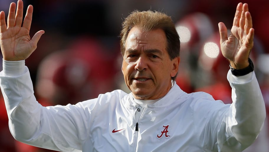 TUSCALOOSA, AL - NOVEMBER 24:  Head coach Nick Saban of the Alabama Crimson Tide runs warmups prior to facing the Auburn Tigers at Bryant-Denny Stadium on November 24, 2018 in Tuscaloosa, Alabama.  (Photo by Kevin C. Cox/Getty Images)