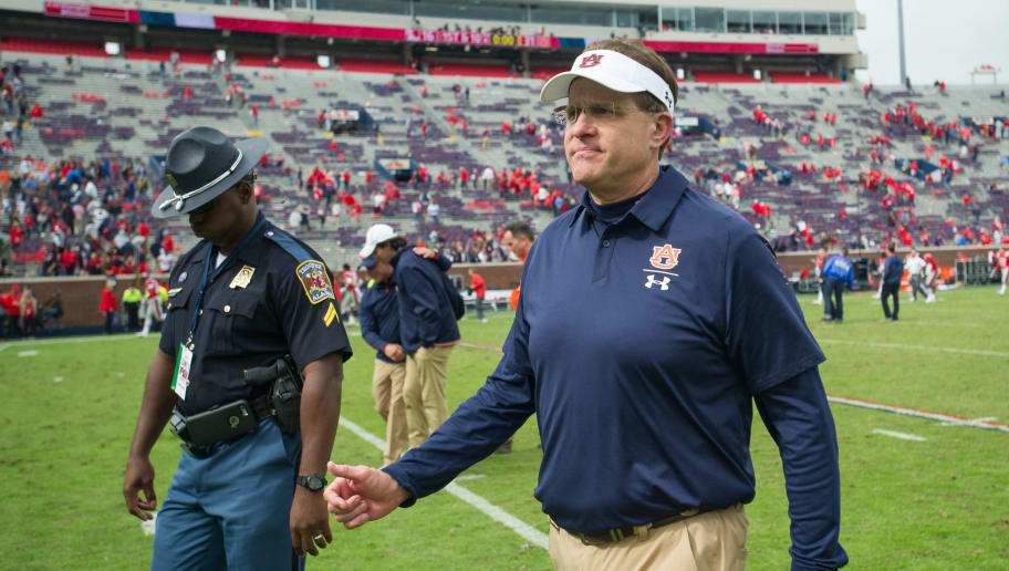 OXFORD, MS - OCTOBER 20: Head coach Gus Malzahn of the Auburn Tigers after their game against the Mississippi Rebels at Vaught-Hemingway Stadium on October 20, 2018 in Oxford, Mississippi. (Photo by Michael Chang/Getty Images)