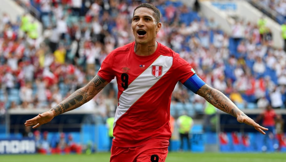 SOCHI, RUSSIA - JUNE 26:  Paolo Guerrero of Peru celebrates after scoring his team's second goal during the 2018 FIFA World Cup Russia group C match between Australia and Peru at Fisht Stadium on June 26, 2018 in Sochi, Russia.  (Photo by Stu Forster/Getty Images)