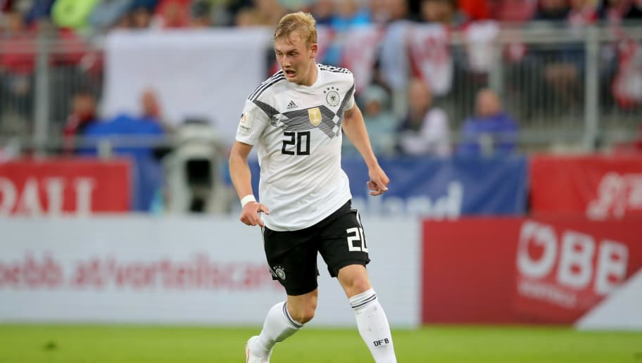 KLAGENFURT, AUSTRIA - JUNE 02:  Julian Brandt of Germany runs with the ball during the International Friendly match between Austria and Germany at Woerthersee Stadion on June 2, 2018 in Klagenfurt, Austria.  (Photo by Alexander Hassenstein/Bongarts/Getty Images)