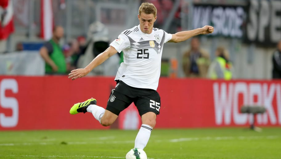 KLAGENFURT, AUSTRIA - JUNE 02:  Nils Petersen of Germany runs with the ball during the International Friendly match between Austria and Germany at Woerthersee Stadion on June 2, 2018 in Klagenfurt, Austria.  (Photo by Alexander Hassenstein/Bongarts/Getty Images)