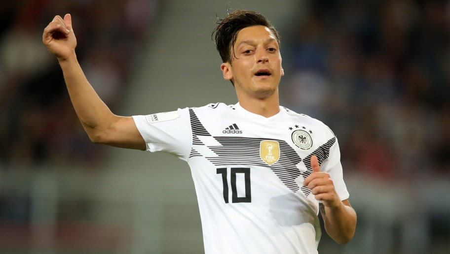KLAGENFURT, AUSTRIA - JUNE 02: Mesut Oezil of Germany reacts during the International Friendly match between Austria and Germany at Woerthersee Stadion on June 2, 2018 in Klagenfurt, Austria.  (Photo by Alexander Hassenstein/Bongarts/Getty Images)