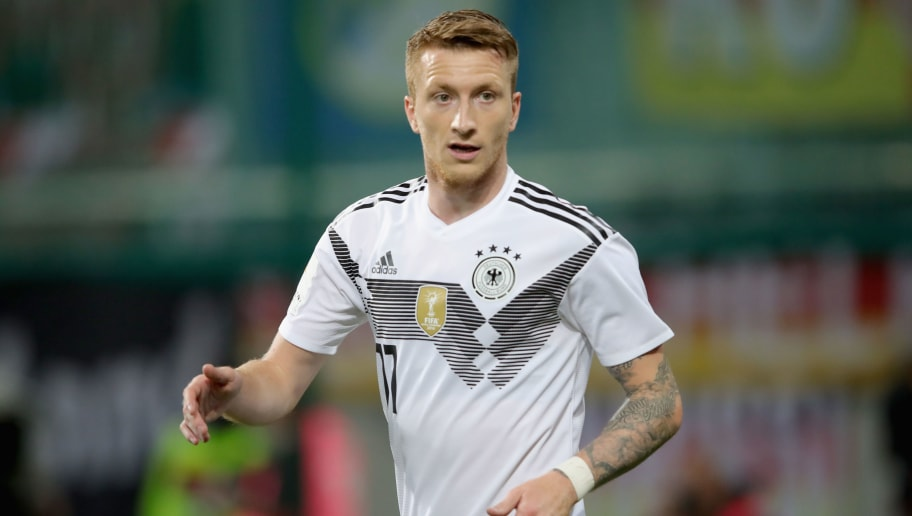 KLAGENFURT, AUSTRIA - JUNE 02:  Marco Reus  of Germany looks on  during the International Friendly match between Austria and Germany at Woerthersee Stadion on June 2, 2018 in Klagenfurt, Austria.  (Photo by Alexander Hassenstein/Bongarts/Getty Images)