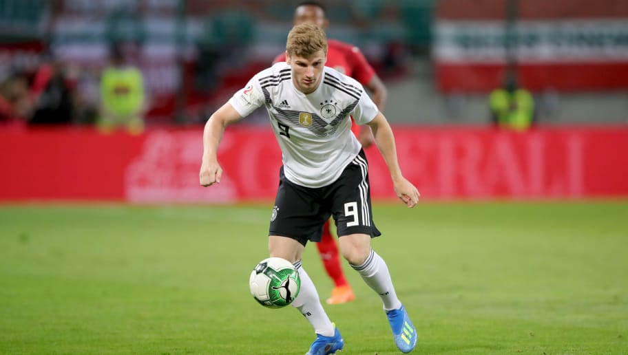 KLAGENFURT, AUSTRIA - JUNE 02:  Timo Werner of Germany runs with the ball during the International Friendly match between Austria and Germany at Woerthersee Stadion on June 2, 2018 in Klagenfurt, Austria.  (Photo by Alexander Hassenstein/Bongarts/Getty Images)