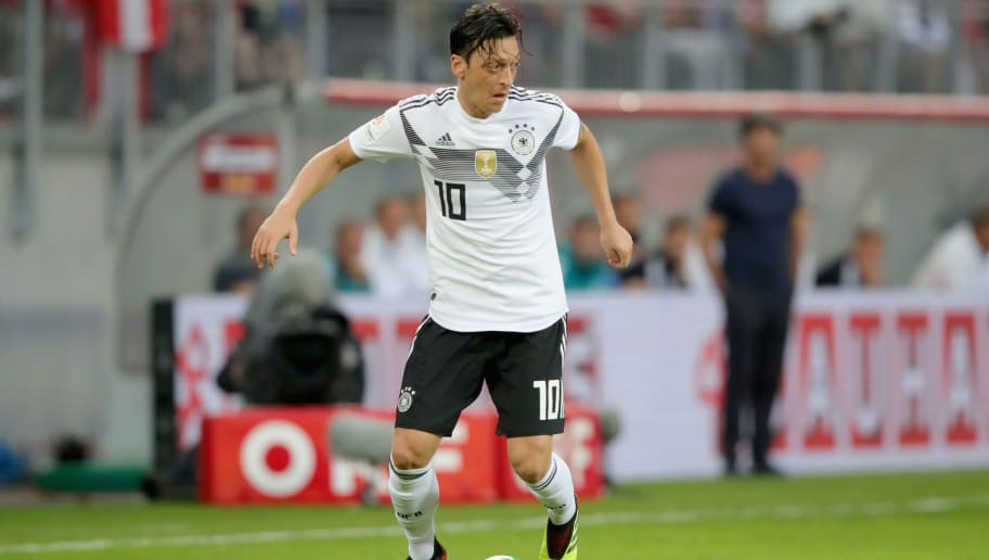 KLAGENFURT, AUSTRIA - JUNE 02:  Mesut Oezil  of Germany runs with the ball during the International Friendly match between Austria and Germany at Woerthersee Stadion on June 2, 2018 in Klagenfurt, Austria.  (Photo by Alexander Hassenstein/Bongarts/Getty Images)
