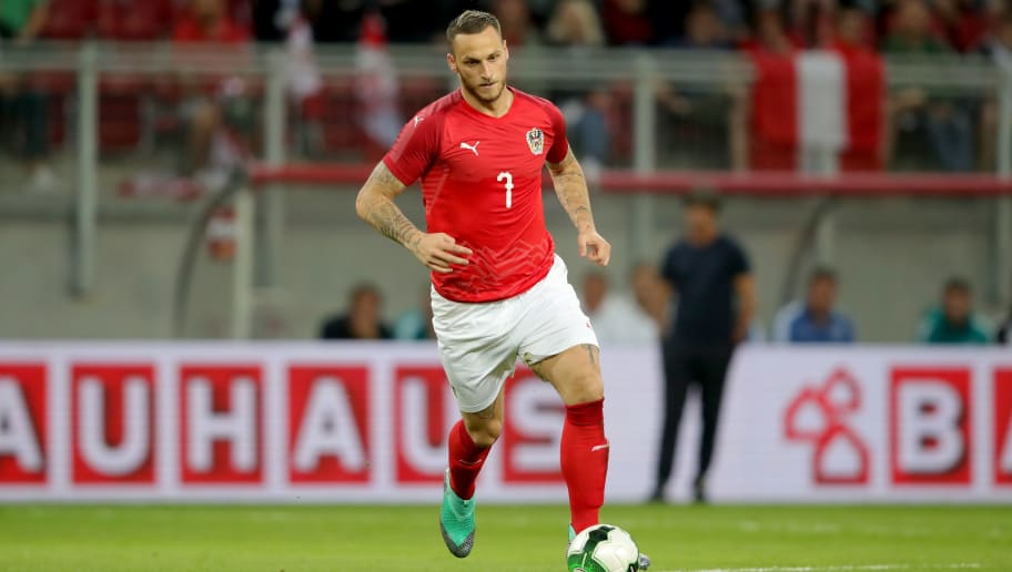 KLAGENFURT, AUSTRIA - JUNE 02:  Marko Arnautovic of Austria runs with the ball during the International Friendly match between Austria and Germany at Woerthersee Stadion on June 2, 2018 in Klagenfurt, Austria.  (Photo by Alexander Hassenstein/Bongarts/Getty Images)