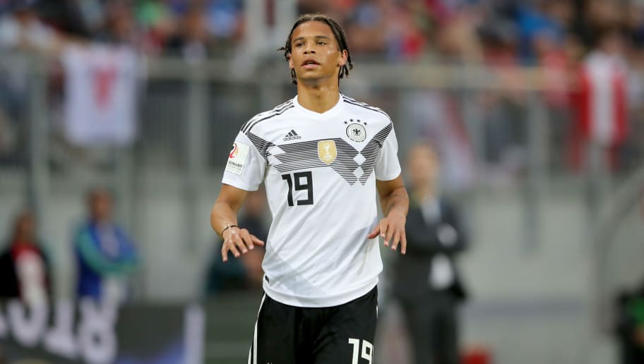 KLAGENFURT, AUSTRIA - JUNE 02:  Leroy Sane of Germany looks on  during the International Friendly match between Austria and Germany at Woerthersee Stadion on June 2, 2018 in Klagenfurt, Austria.  (Photo by Alexander Hassenstein/Bongarts/Getty Images)