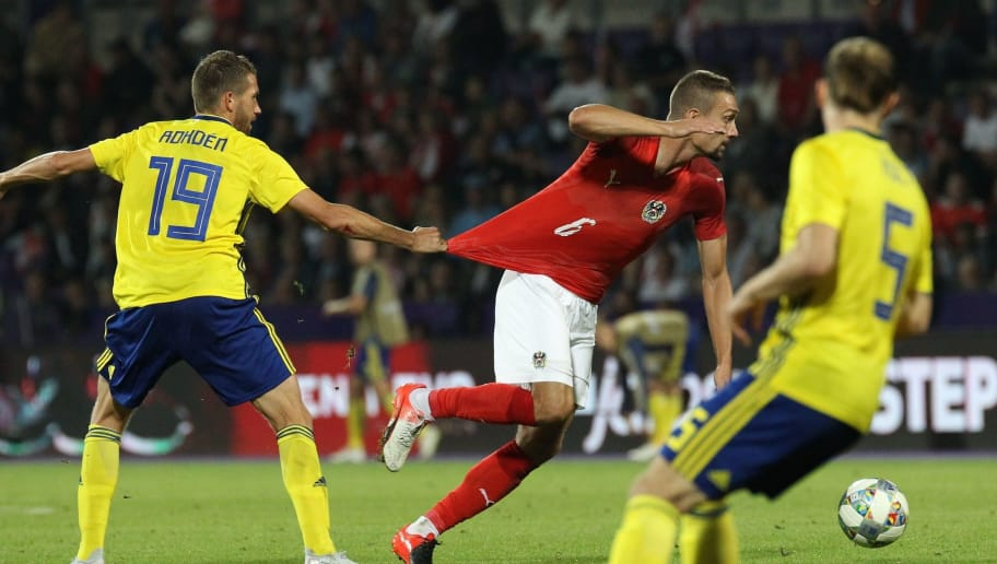 VIENNA, AUSTRIA - SEPTEMBER 6: Marcus Rohden of Sweden and Stefan Ilsanker of Austria during the internationl friendly match between Austria and Sweden at Generali Arena on September 6, 2018 in Vienna, Austria. (Photo by Michael Baldauf/SEPA.Media /Getty Images)