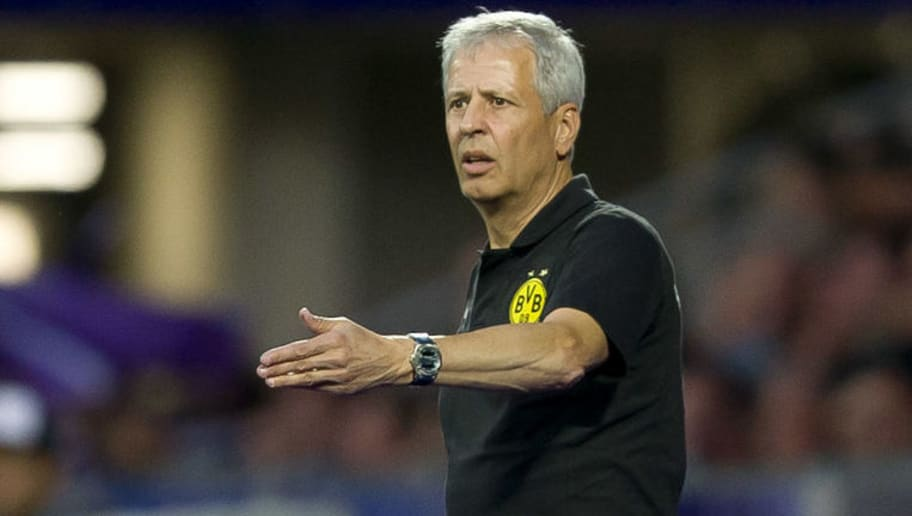 VIENNA, AUSTRIA - JULY 13: Head coach Lucien Favre of Dortmund gestures during the friendly match between Austria Wien and Borussia Dortmund at Generali Arena on July 13, 2018 in Vienna, Austria. (Photo by TF-Images/Getty Images)