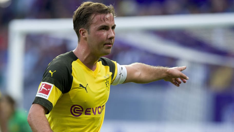 VIENNA, AUSTRIA - JULY 13: Mario Goetze of Dortmund gestures during the friendly match between Austria Wien and Borussia Dortmund at Generali Arena on July 13, 2018 in Vienna, Austria. (Photo by TF-Images/Getty Images)