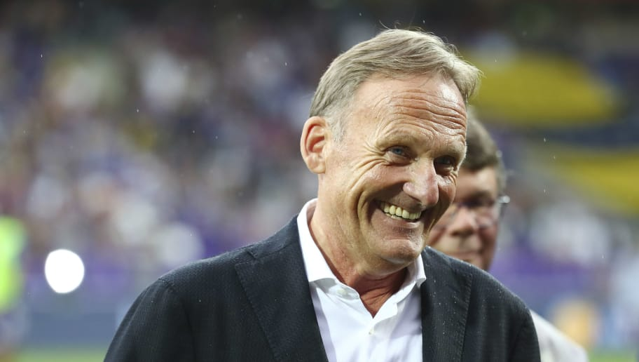 VIENNA, AUSTRIA - JULY 13: Hans-Joachim Watzke of Dortmund looks on during the friendly match between Austria Wien and Borussia Dortmund at Generali Arena on July 13, 2018 in Vienna, Austria. (Photo by TF-Images/Getty Images)