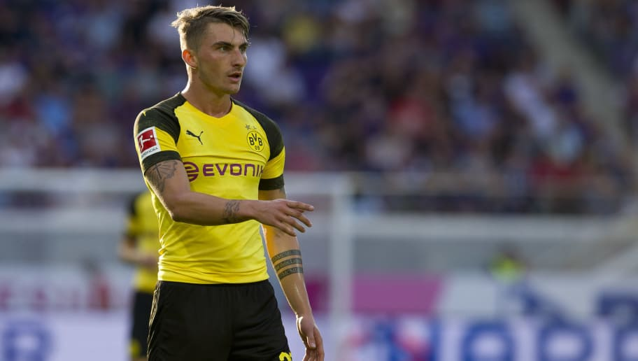 VIENNA, AUSTRIA - JULY 13: Maximilian Philipp of Borussia Dortmund gestures during the friendly match between Austria Wien and Borussia Dortmund at Generali Arena on July 13, 2018 in Vienna, Austria. (Photo by TF-Images/Getty Images)