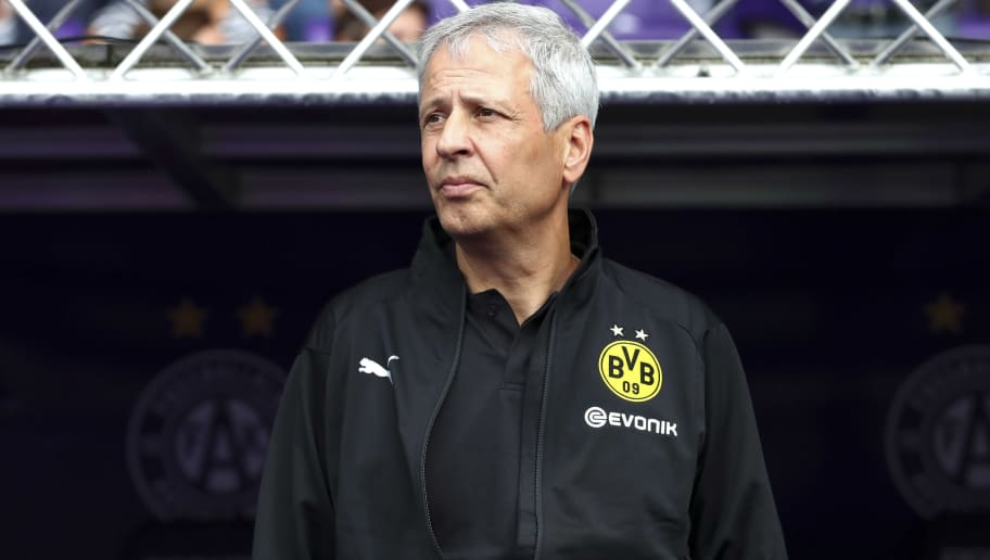 VIENNA, AUSTRIA - JULY 13: Head coach Lucien Favre of Dortmund looks on during the friendly match between Austria Wien and Borussia Dortmund at Generali Arena on July 13, 2018 in Vienna, Austria. (Photo by TF-Images/Getty Images)