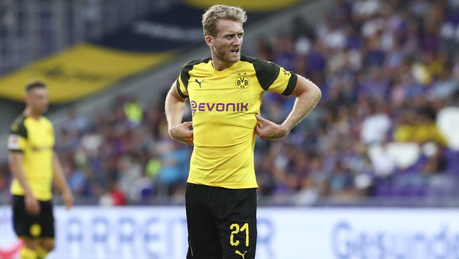 VIENNA, AUSTRIA - JULY 13: Andre Schürrle of Dortmund controls the ball during the friendly match between Austria Wien and Borussia Dortmund at Generali Arena on July 13, 2018 in Vienna, Austria. (Photo by TF-Images/Getty Images)