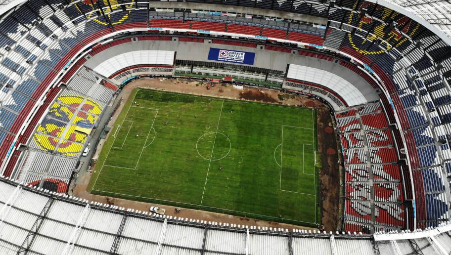 MEXICO CITY, MEXICO - NOVEMBER 30: Aereal View of the Estadio Azteca's pitch a day before it's first quarter finals match at Azteca Stadium on November 30, 2018 in Mexico City, Mexico. The grass of Azteca Stadium has been changed for another one after a complete semester of issues related to its care and maintenance. (Photo by Jaime Lopez/Jam Media/Getty Images)