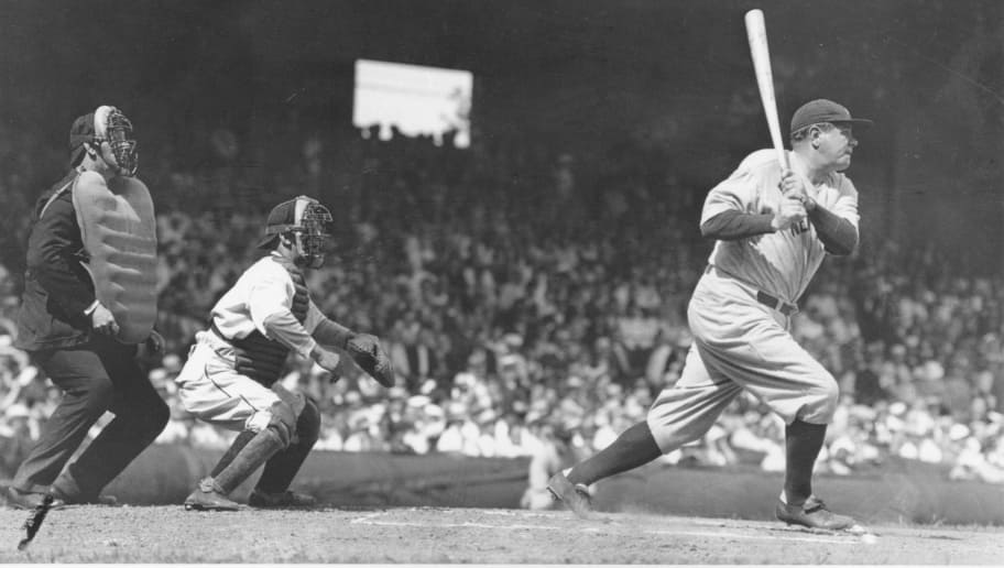 CLEVELAND, OH - MAY 20, 1934: Babe Ruth lines a single to right field at League Park. The Yankees lost to the Indians 8-5. Ruth singled twice and struck out twice in a losing effort. (Photo by Louis Van Oeyen/Western Reserve Historical Society/Getty Images).