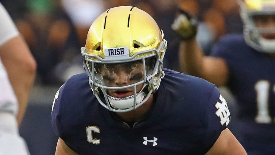 SOUTH BEND, IN - SEPTEMBER 08:  Drue Tranquill #23 of the Notre Dame Fighting Irish awaits the snap against the Ball State Cardinals at Notre Dame Stadium on September 8, 2018 in South Bend, Indiana. Notre Dame defeated Ball State 24-16.  (Photo by Jonathan Daniel/Getty Images)