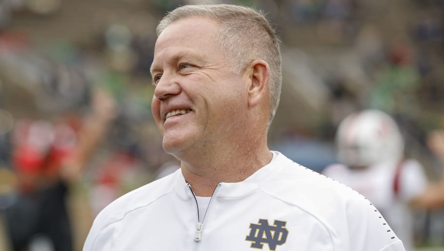 SOUTH BEND, IN - SEPTEMBER 08: Head coach Brian Kelly of the Notre Dame Fighting Irish is seen before the game against the Ball State Cardinals at Notre Dame Stadium on September 8, 2018 in South Bend, Indiana. Notre Dame defeated Ball State 24-16. (Photo by Michael Hickey/Getty Images)