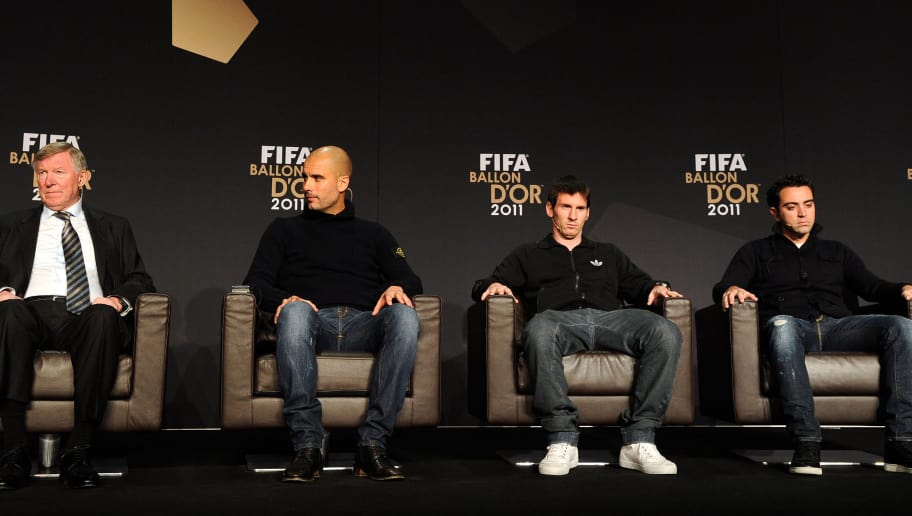 (From L) NomineeS for the Fifa World coach of the Year for Men's Football, Sir Alex Ferguson, manager of Manchester United, Barcelona's Spain coach Pep Guardiola, and nominees for the FIFA Ballon d'Or, Barcelona's Argentinian forward Lionel Messi and Barcelona's midfielder Xavi Hernandez attend a press conference prior to the FIFA Ballon d'Or ceremony on January 9, 2012 at the Kongresshaus in Zurich. AFP PHOTO / FRANCK FIFE (Photo credit should read FRANCK FIFE/AFP/Getty Images)