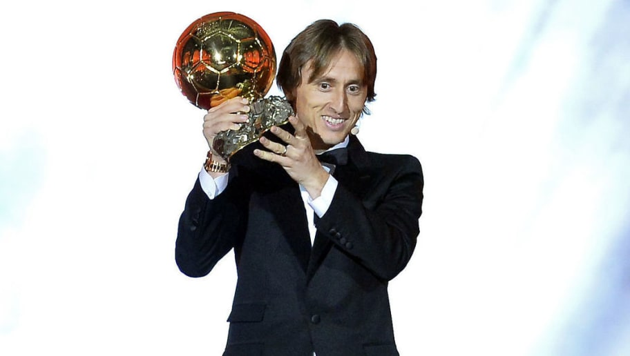 PARIS, FRANCE - DECEMBER 03:  Luka Modric of Croatia and Real Madrid wins the 2018 Ballon D'Or at Le Grand Palais on December 3, 2018 in Paris, France.  (Photo by Aurelien Meunier/Getty Images)