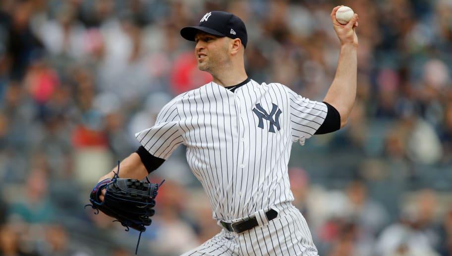 NEW YORK, NY - SEPTEMBER 23:  J.A. Happ #34 of the New York Yankees in action against the Baltimore Orioles at Yankee Stadium on September 23, 2018 in the Bronx borough of New York City. The Orioles defeated the Yankees 6-3.  (Photo by Jim McIsaac/Getty Images)