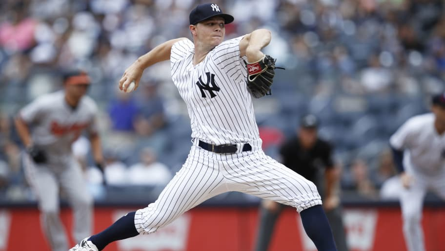 NEW YORK, NY - AUGUST 01: Sonny Gray #55 of the New York Yankees pitches during a game against the Baltimore Orioles at Yankee Stadium on August 1, 2018 in New York City. The Orioles won 7-5. (Photo by Joe Robbins/Getty Images)