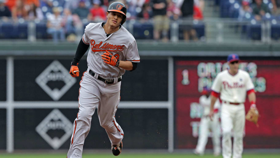 PHILADELPHIA - JUNE 18: Manny Machado #13 of the Baltimore Orioles rounds the bases after hitting a solo home run in the first inning during a game against the Philadelphia Phillies at Citizens Bank Park on June 18, 2015 in Philadelphia, Pennsylvania. (Photo by Hunter Martin/Getty Images)