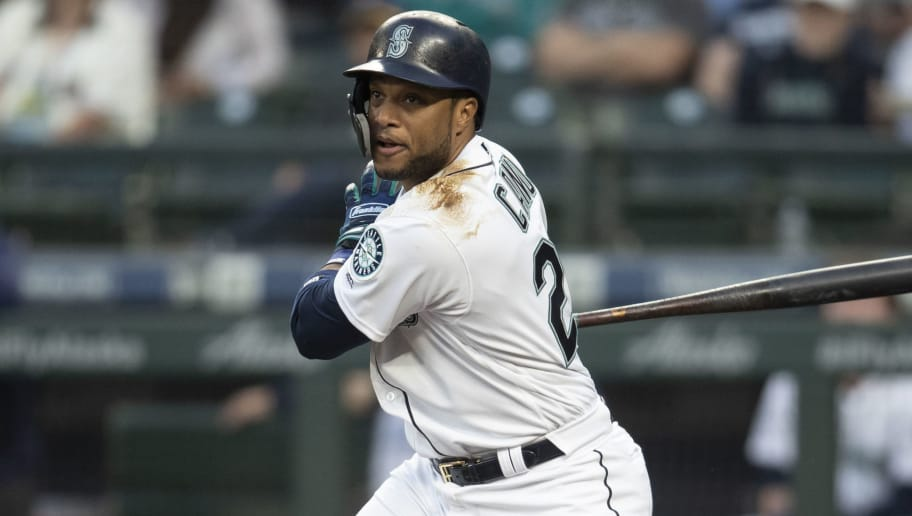 SEATTLE, WA - SEPTEMBER 5: Robinson Cano #22 of the Seattle Mariners takes a swing during an at-bat in a game against the Baltimore Orioles at Safeco Field on September 5, 2018 in Seattle, Washington. The Mariners game 5-2. (Photo by Stephen Brashear/Getty Images)
