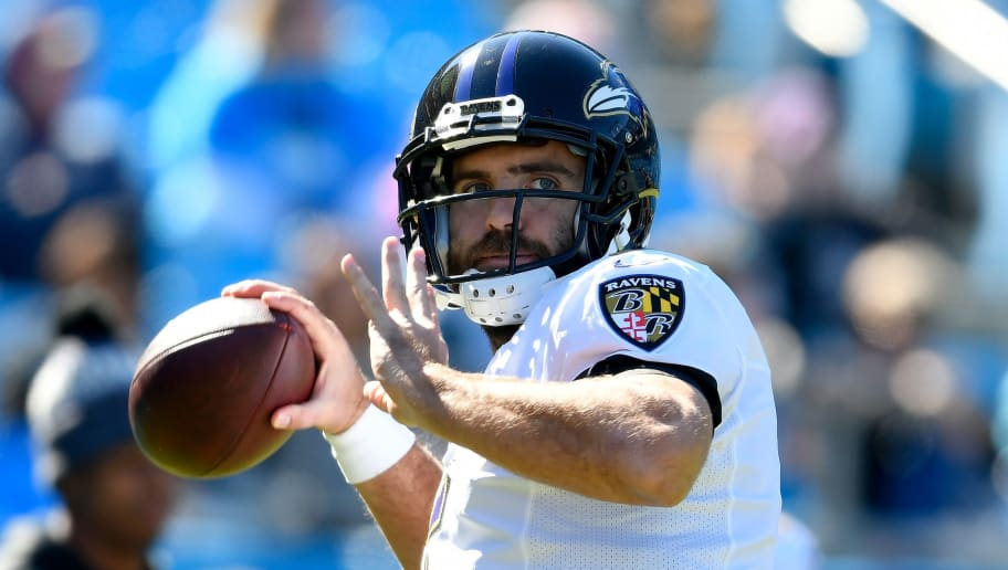 CHARLOTTE, NC - OCTOBER 28:  Joe Flacco #5 of the Baltimore Ravens warms up prior to their game against the Carolina Panthers at Bank of America Stadium on October 28, 2018 in Charlotte, North Carolina.  (Photo by Grant Halverson/Getty Images)