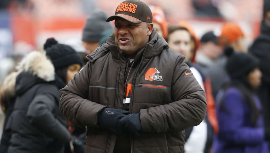 CLEVELAND, OH - DECEMBER 17: Head coach Hue Jackson of the Cleveland Browns looks on before the game against the Baltimore Ravens at FirstEnergy Stadium on December 17, 2017 in Cleveland, Ohio. (Photo by Kirk Irwin/Getty Images)