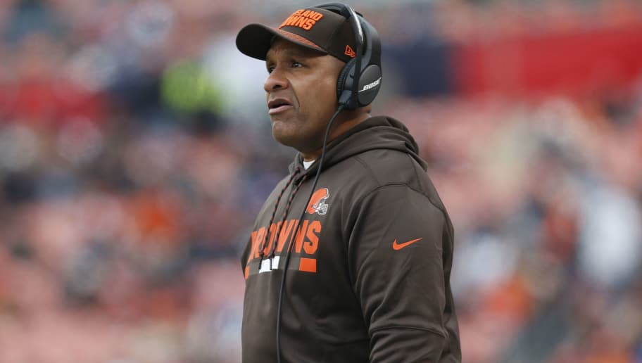 CLEVELAND, OH - DECEMBER 17: Head coach Hue Jackson of the Cleveland Browns looks on in the first quarter against the Baltimore Ravens at FirstEnergy Stadium on December 17, 2017 in Cleveland, Ohio. (Photo by Kirk Irwin/Getty Images)