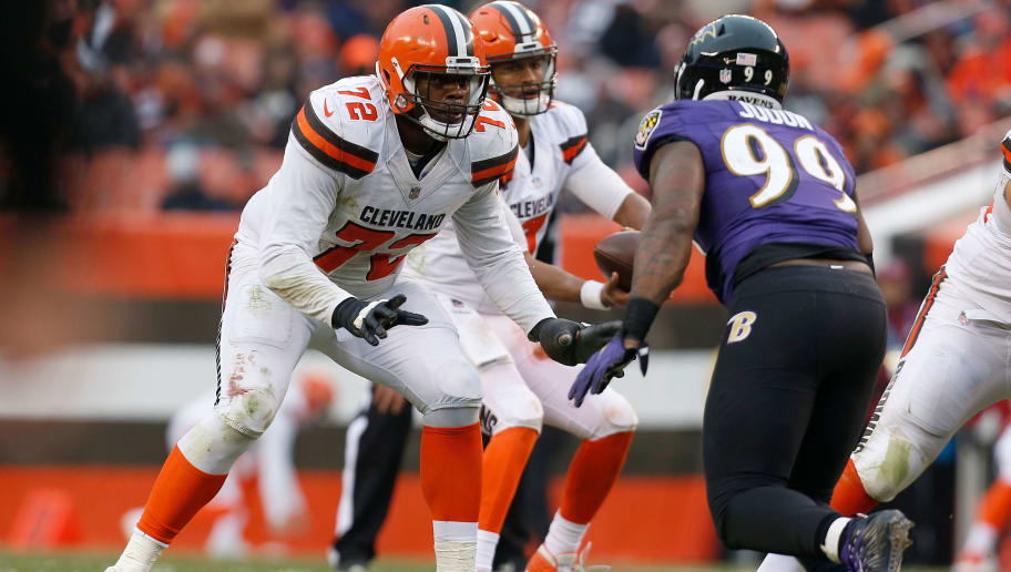 CLEVELAND, OH - DECEMBER 17:  Shon Coleman #72 of the Cleveland Browns defends against Matthew Judon #99 of the Baltimore Ravens during the game at FirstEnergy Stadium on December 17, 2017 in Cleveland, Ohio. Baltimore defeated Cleveland 27-10. (Photo by Kirk Irwin/Getty Images)  *** Shon Coleman;Matthew Judon