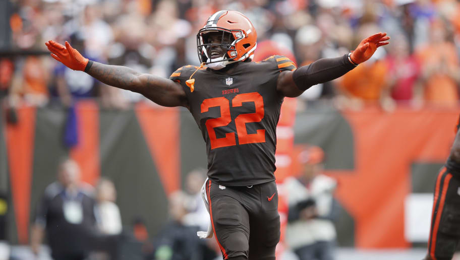 CLEVELAND, OH - OCTOBER 07: Jabrill Peppers #22 of the Cleveland Browns reacts after a defensive stop during the game against the Baltimore Ravens at FirstEnergy Stadium on October 7, 2018 in Cleveland, Ohio. The Browns won 12-9 in overtime. (Photo by Joe Robbins/Getty Images)