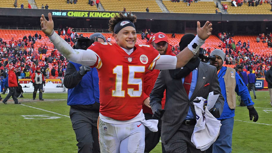 KANSAS CITY, MO - DECEMBER 09:  Quarterback Patrick Mahomes #15 of the Kansas City Chiefs reacts as he runs off the field, after defeating the Baltimore Ravens in overtime on December 9, 2018 at Arrowhead Stadium in Kansas City, Missouri.  (Photo by Peter G. Aiken/Getty Images)