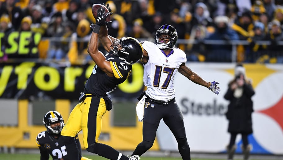 PITTSBURGH, PA - DECEMBER 10: Mike Mitchell #23 of the Pittsburgh Steelers breaks up a pass intended for Mike Wallace #17 of the Baltimore Ravens in the second half during the game at Heinz Field on December 10, 2017 in Pittsburgh, Pennsylvania. (Photo by Joe Sargent/Getty Images)