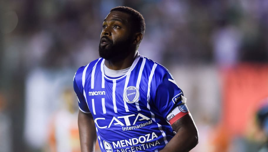 BUENOS AIRES, ARGENTINA - APRIL 21: Santiago Garcia of Godoy Cruz looks on during a match between Banfield and Godoy Cruz as part of Argentina Superliga 2017/18 at Florencio Sola Stadium on April 21, 2018 in Buenos Aires, Argentina. (Photo by Marcelo Endelli/Getty Images)