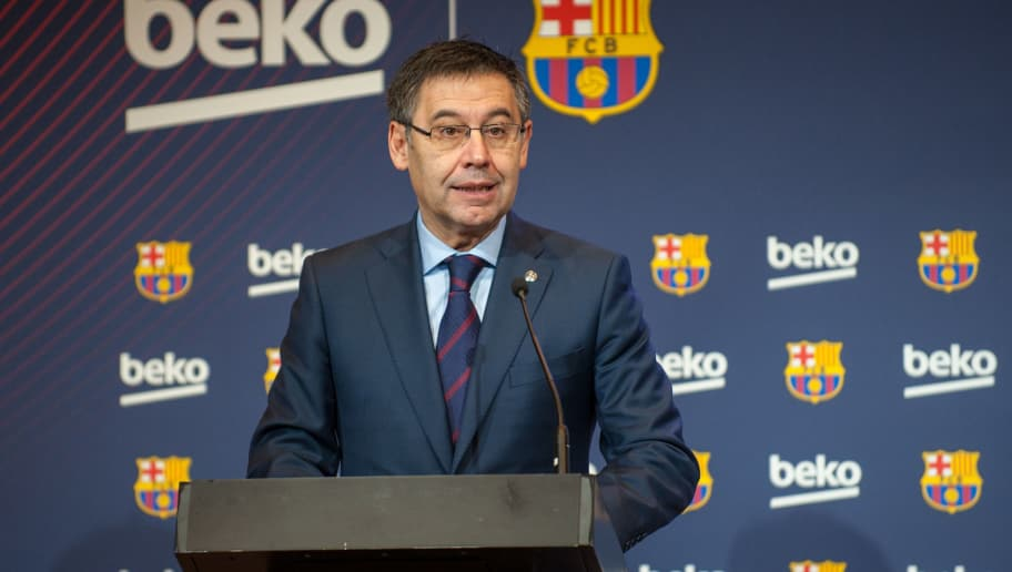 BARCELONA, SPAIN - FEBRUARY 15:  Josep Maria Bartomeu attends a press presentation as Barcelona FC and Beko announce a sponsorship agreement, atCamp Nou Auditori 1899 on February 15, 2018 in Barcelona, Spain. Football Club Barcelona and Turkish company Beko signed a new sponsorship deal for the next 3 seasons, valued at 57 million euros. (Photo by Robert Marquardt/Getty Images)
