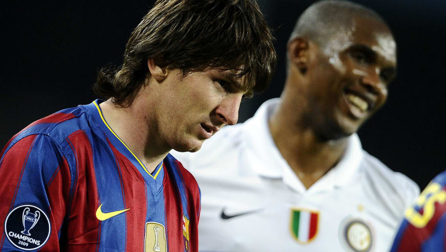 Barcelona's Argentinian forward Lionel Messi (L) and Inter Milan's Cameroonian forward Samuel Eto'o look on during the UEFA Champions League semi-final second leg football match Barcelona vs Inter Milan on April 28, 2010 at the Camp Nou stadium in Barcelona. AFP PHOTO / Filippo MONTEFORTE (Photo credit should read FILIPPO MONTEFORTE/AFP/Getty Images)